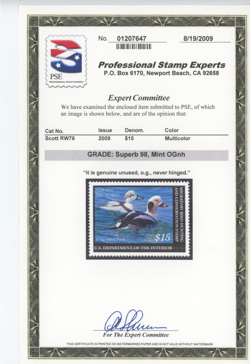 Scan of RW76 2009 Duck Stamp