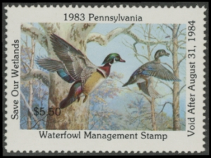 Scan of 1983 Pennsylvania Duck Stamp - First of State